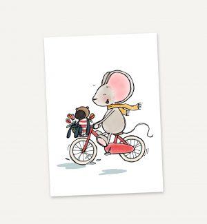 wenskaartje-fietsen-thuis-bij-muis